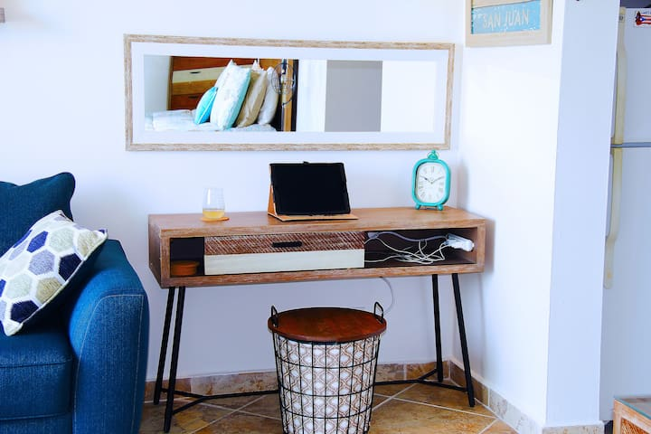 Work space with charging station