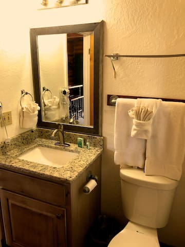 Bathroom equipped with all basic amenities including towels, soaps, shampoo, hair dryer and toilet paper.