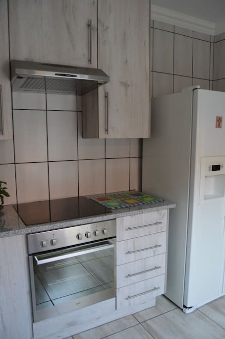 Electrical oven and double door fridge in kitchen (downstairs)