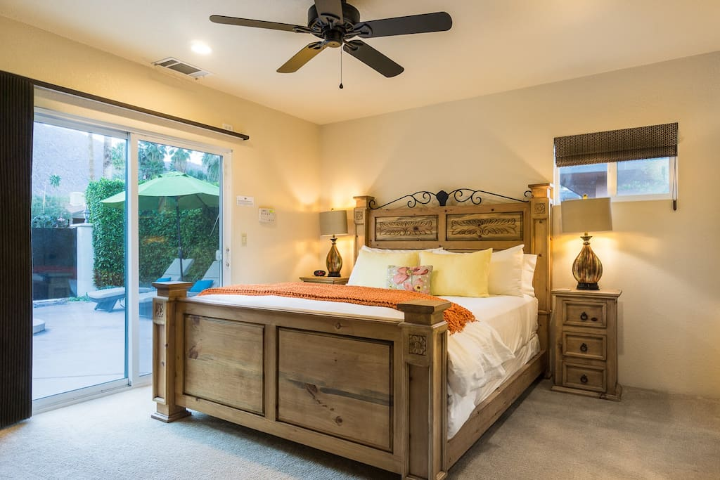 Enjoy a king bed and direct outdoor access in the handsome master suite