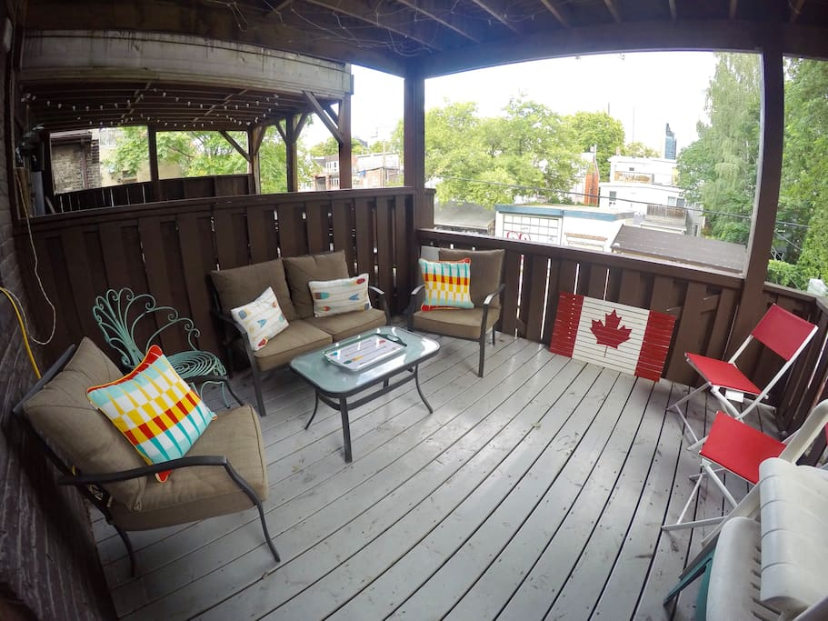 Relax in our outdoor living room! Our 2nd floor deck with comfy furniture complete with pillows to fully relax outside. The wifi works out here so you can even sit and enjoy your favourite shows/movies!