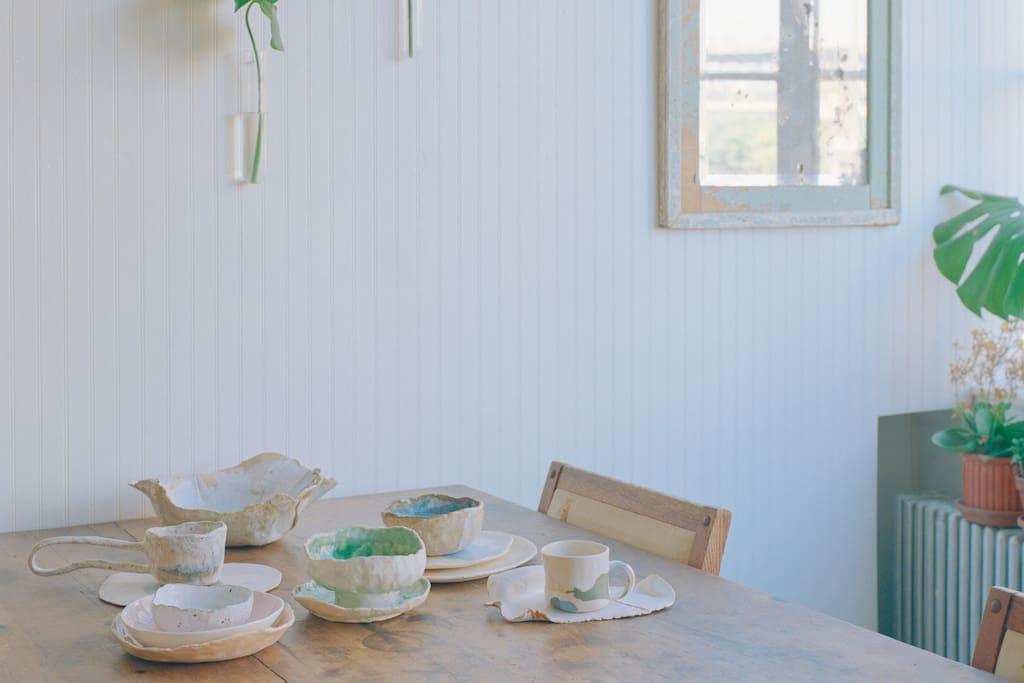 Collection of handmade ceramics.