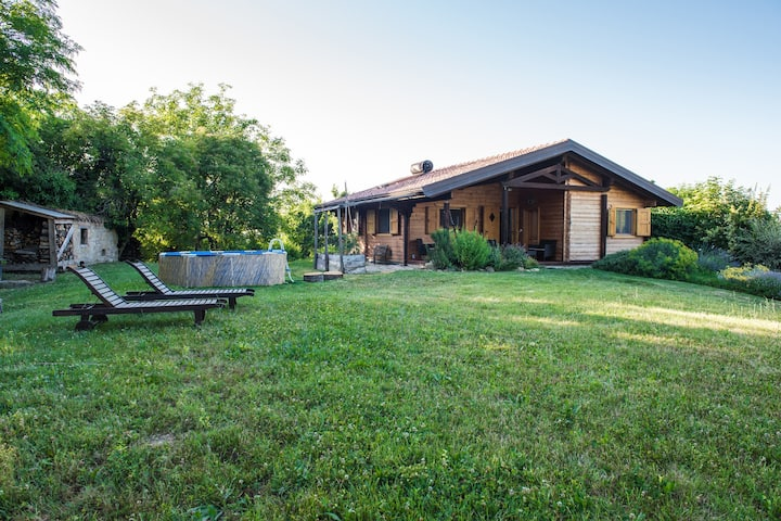 Wooden Cottage surrounded with nature, small pool