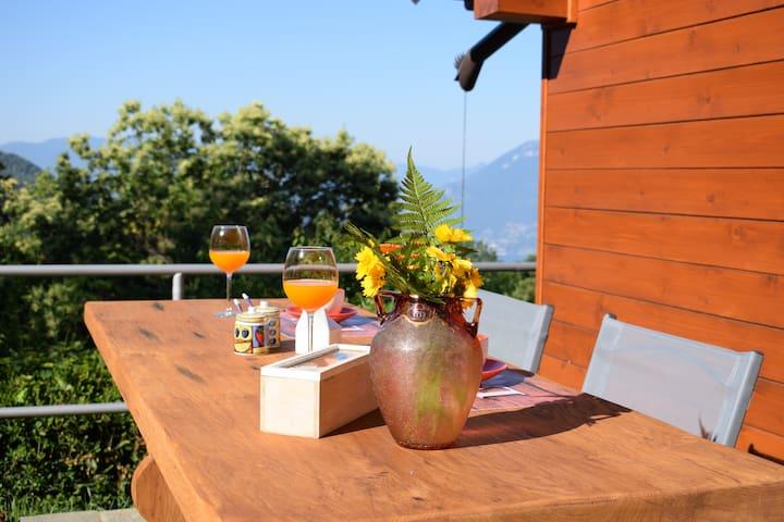 Colazione nel giardino privato con vista lago