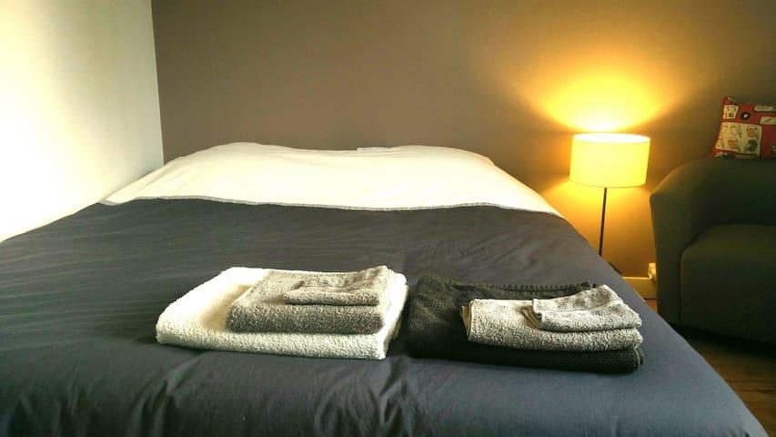 Grand lit confort proche hôpital CHU, campus, gare