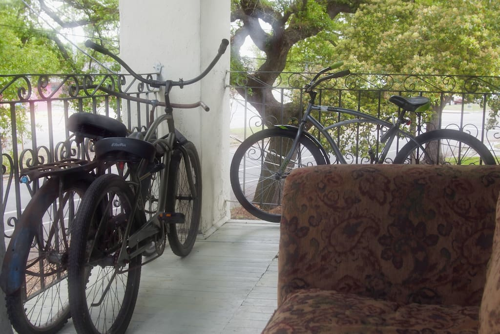 View of the bikes waiting for you from the  couch on the porch in the treetops.
