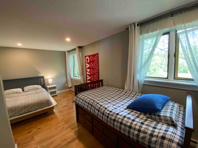 Second bedroom can sleep up to four, with one double,  and two twin beds.