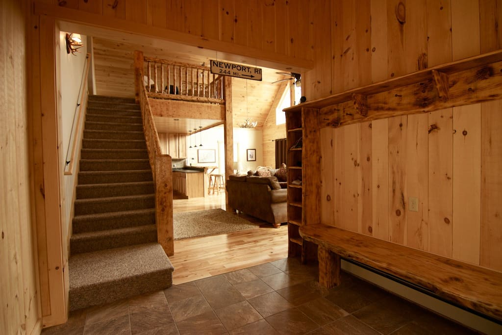 Custom ski-lodge style entry with lots of storage for all of your gear