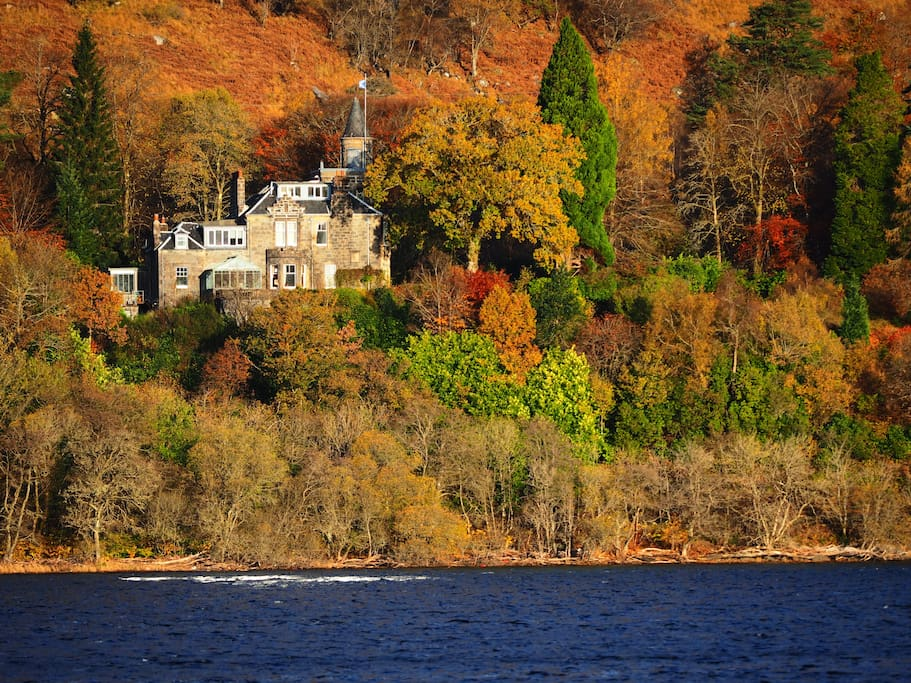 Tower of Glenstrae viewed from across the loch in November