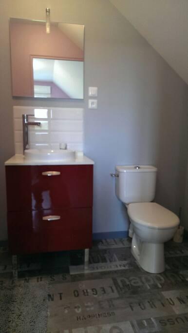 Salle de bain et wc privatifs de la chambre lavande.