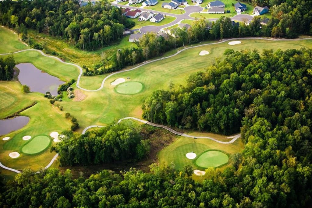 Golf course is open to the public. They also have the club house...which is walking distance and has amazing food for the entire family.