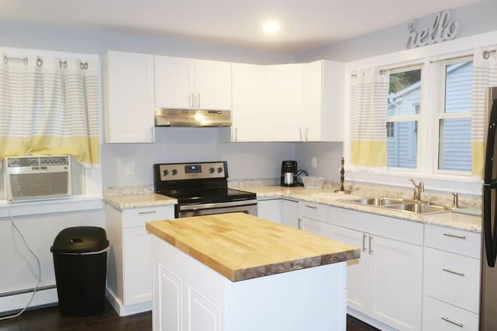 Clean, renovated kitchen.
