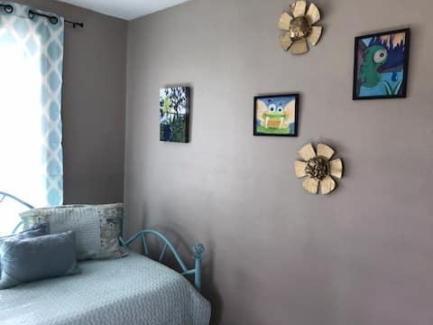 Bargain artsy bedroom