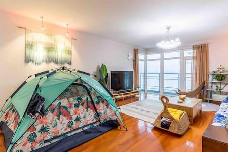禾木·家   渔人码头与海水浴场旁的公寓 (客厅里的海天一线 清澈湛蓝 烟波浩渺  一望无际)