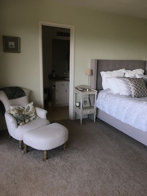 Restoration Hardware Upholstered Queen Bed and Sitting Chair