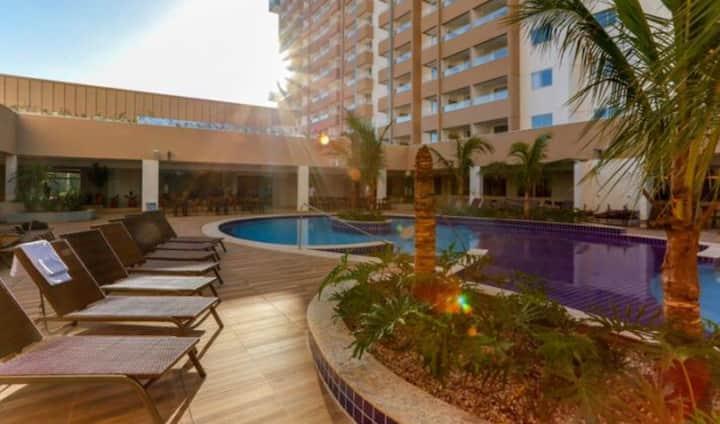 Resort Incrível com 2 quartos para até 8 pessoas