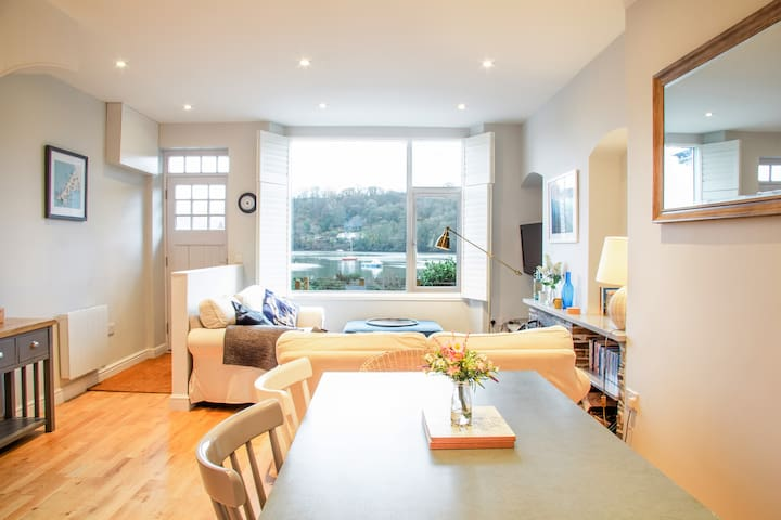 Enjoy views of the river from the dining area