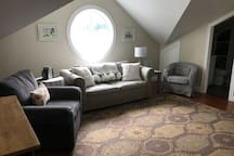 The living area. Comes equipped with a queen pull out sofa