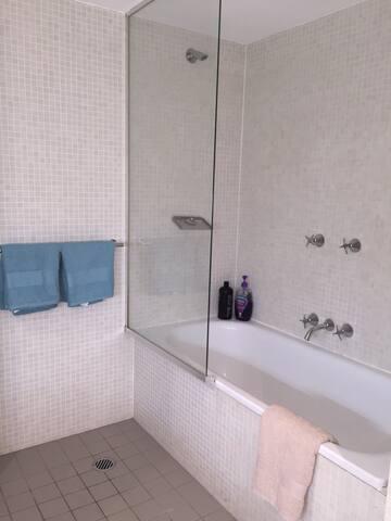 Shower, bathtub, shampoo and towels all provided