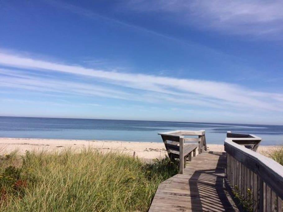 Boardwalk to beach - short walk from cottage
