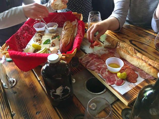 Fancy meat & cheese plates at local BashaKill Winery.