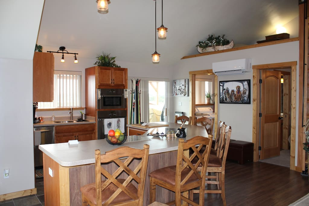 New kitchen appliances with a breakfast bar