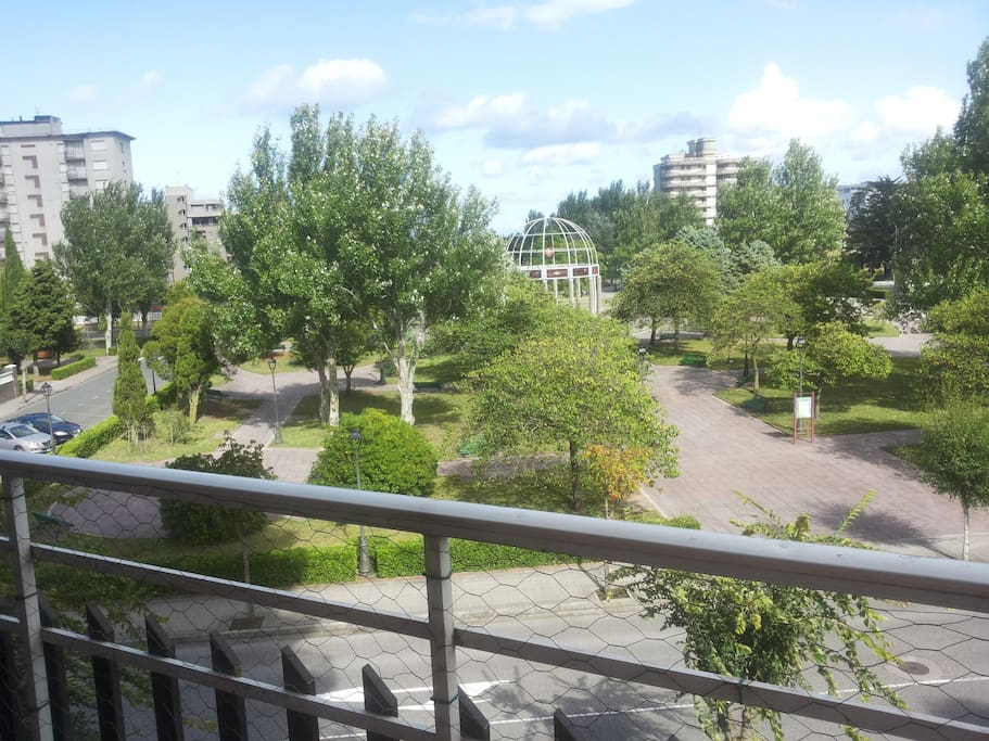 The Park in fron of the building. Behind the Park the Beach of Laredo
