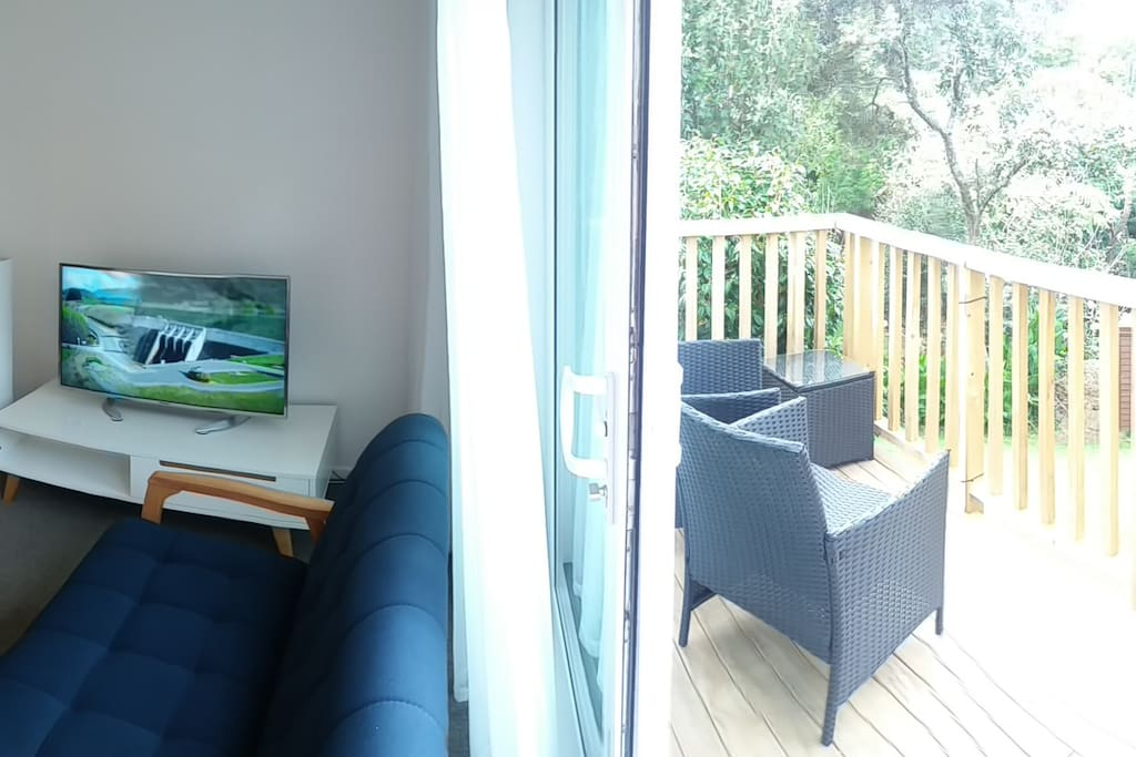 Studio with Smart TV; wide sliding door opening to garden
