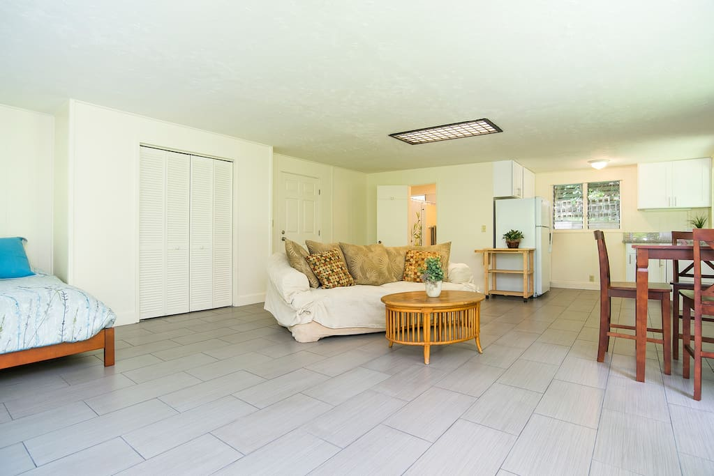 Comfortable queen bed, large storage closet, living area, dining table, kitchen at right rear.