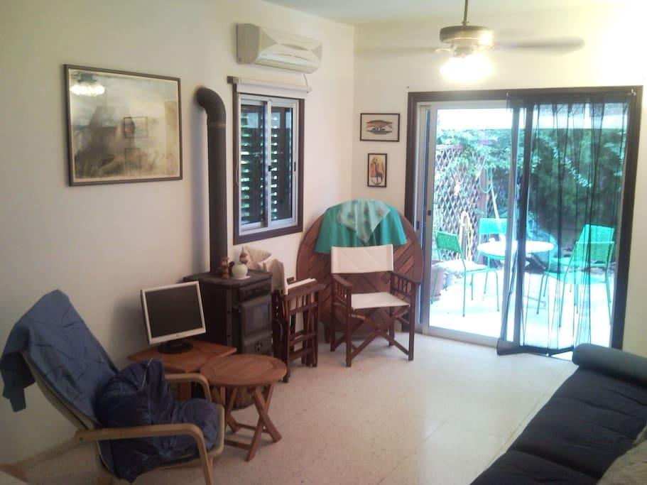 Lounge with woodburning stove!