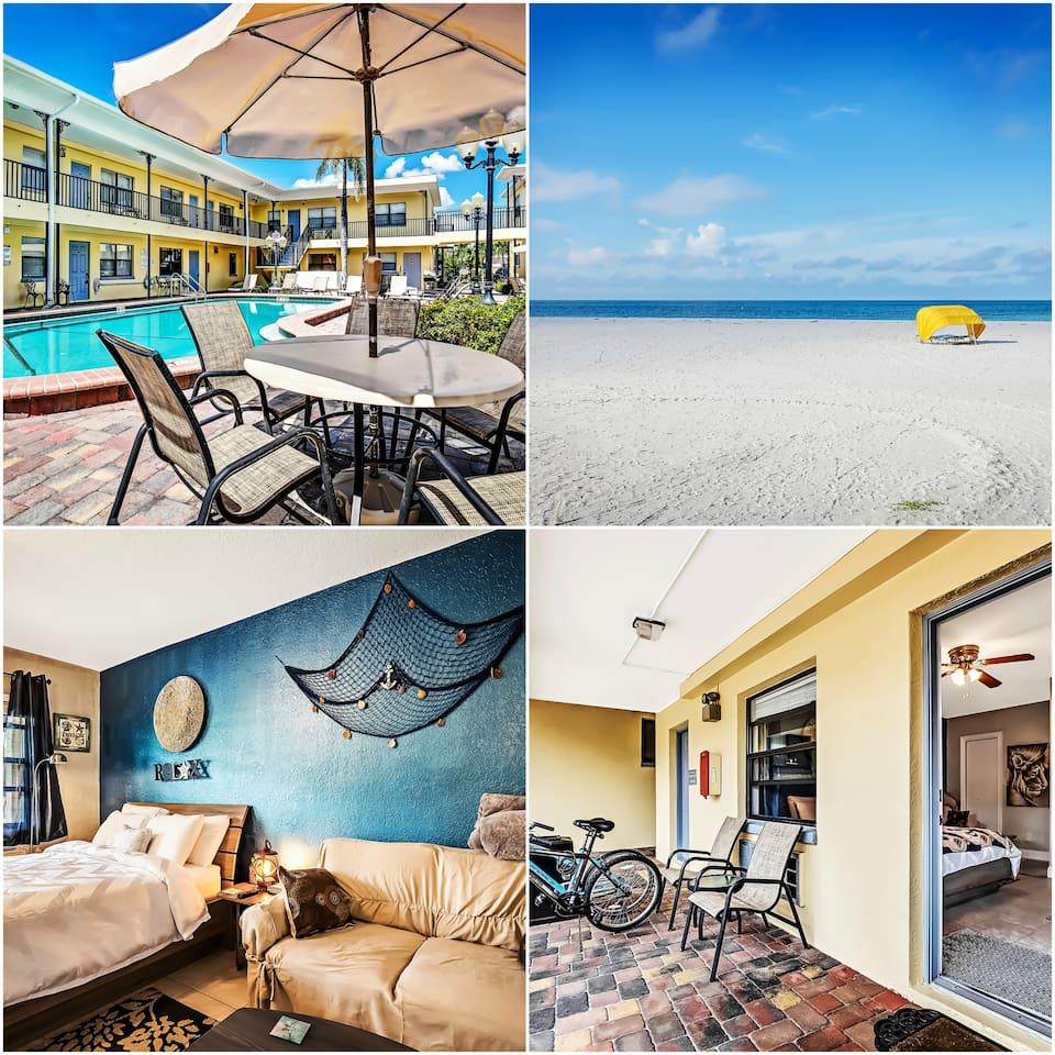 Courtyard with heated pool: Beach 2 min walk: Queen bed: 2 bikes