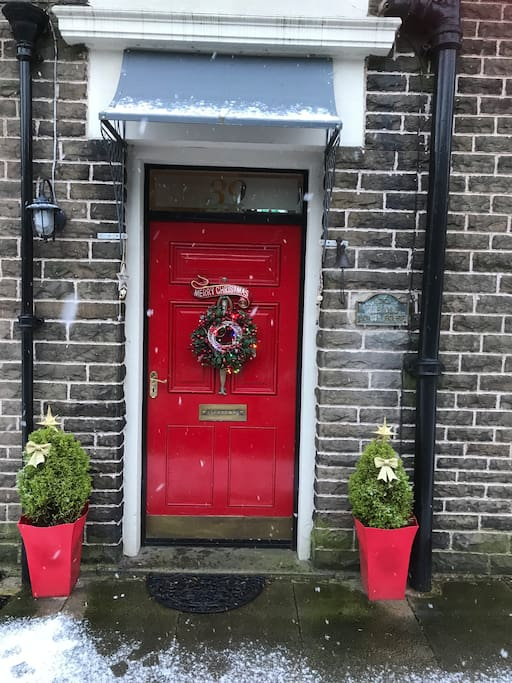 Front door at Christmas time