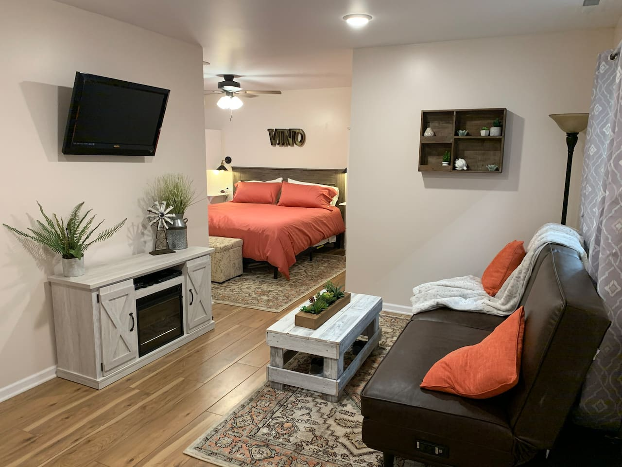 Open living space with TV and DVD player