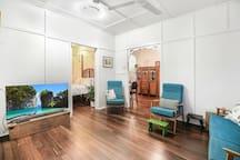 Lounge room (sliding bedroom door is open for perspective)