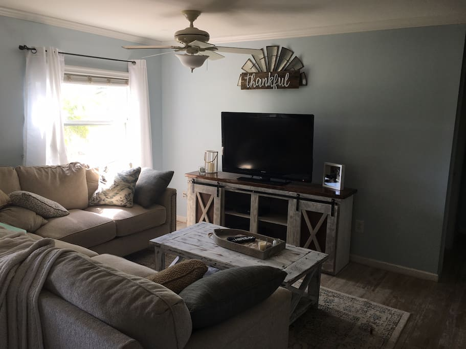 Living room area. Cable and DVD player provided.