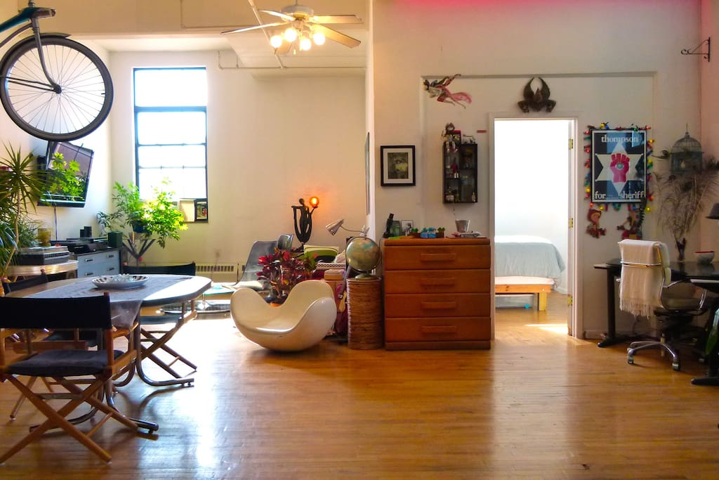 The loft has tons of light and space to relax.