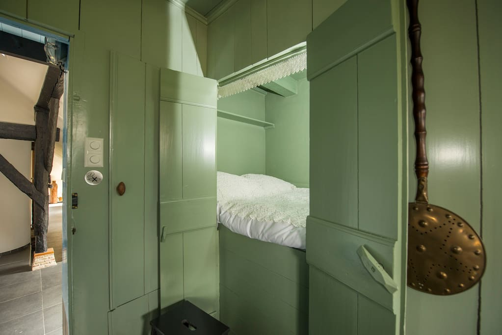 "Stepping back in time and spend the night like out great-grand parents did in a cosy yet comfortable ""bedstede"" or cupboard-bed"