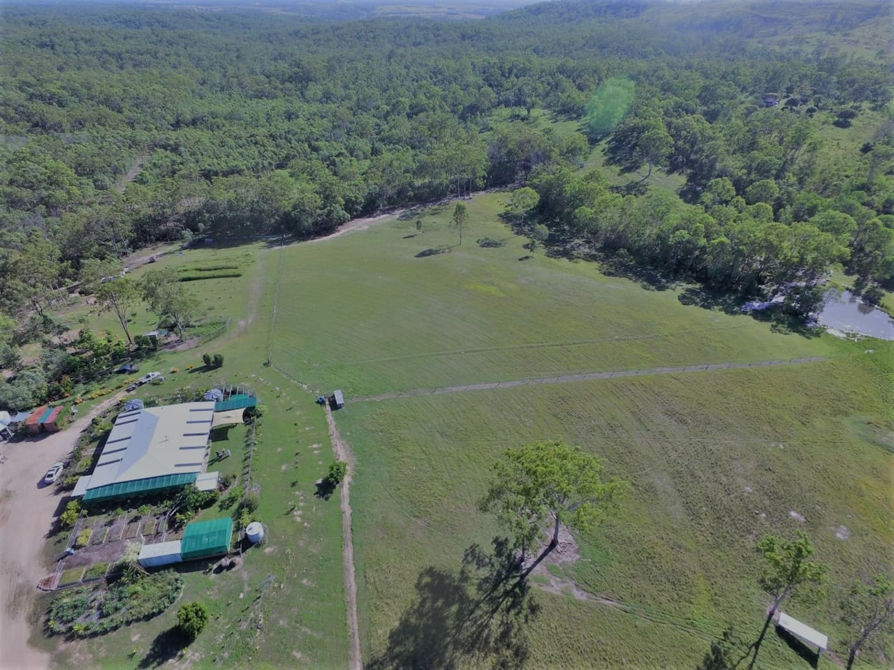 A birds eye view of our 100 acre property near the homestead.