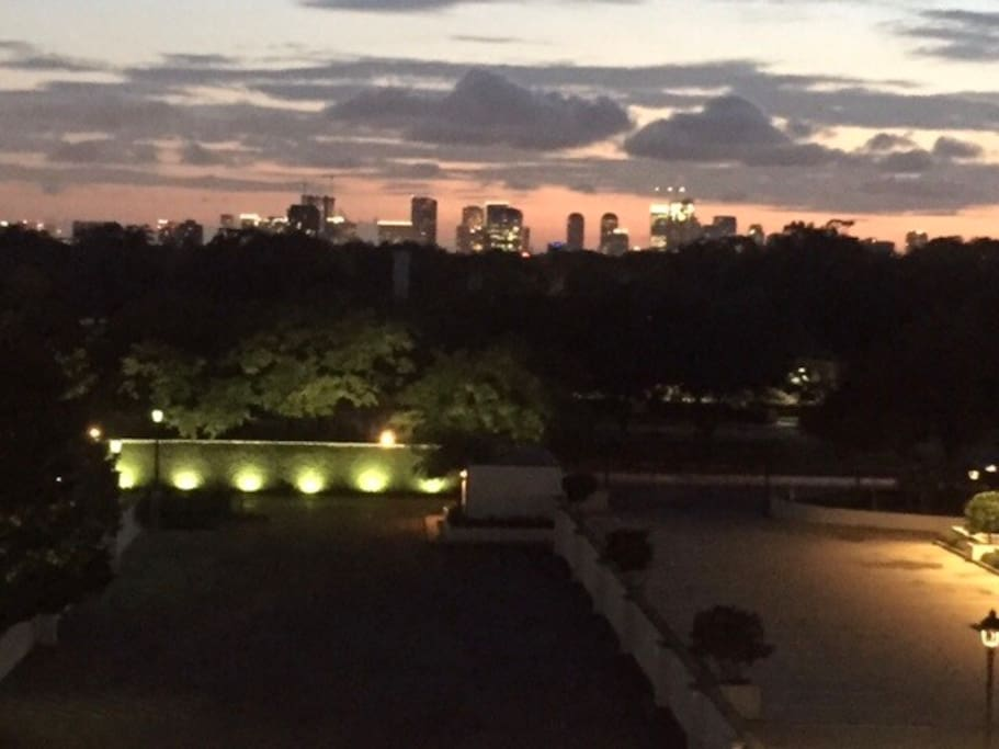 A view of Uptown Houston at sunset from our rooftop deck (no filter, taken with my phone).