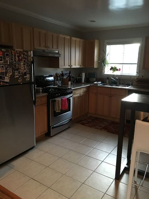 Large kitchen, with granite countertops and stainless steel appliances!