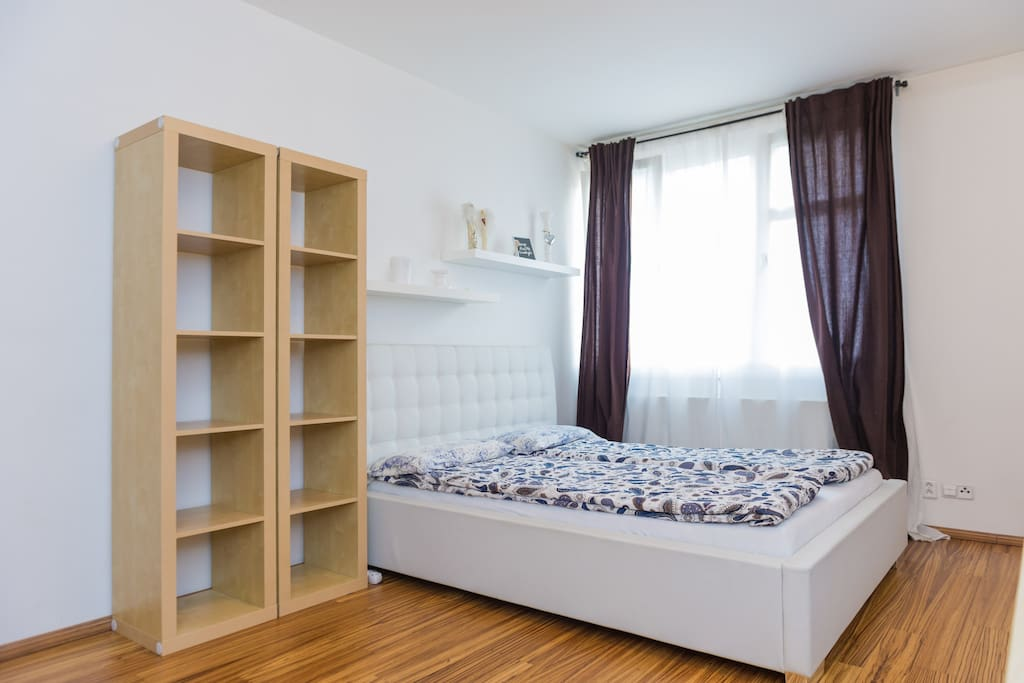 bedroom with shelves