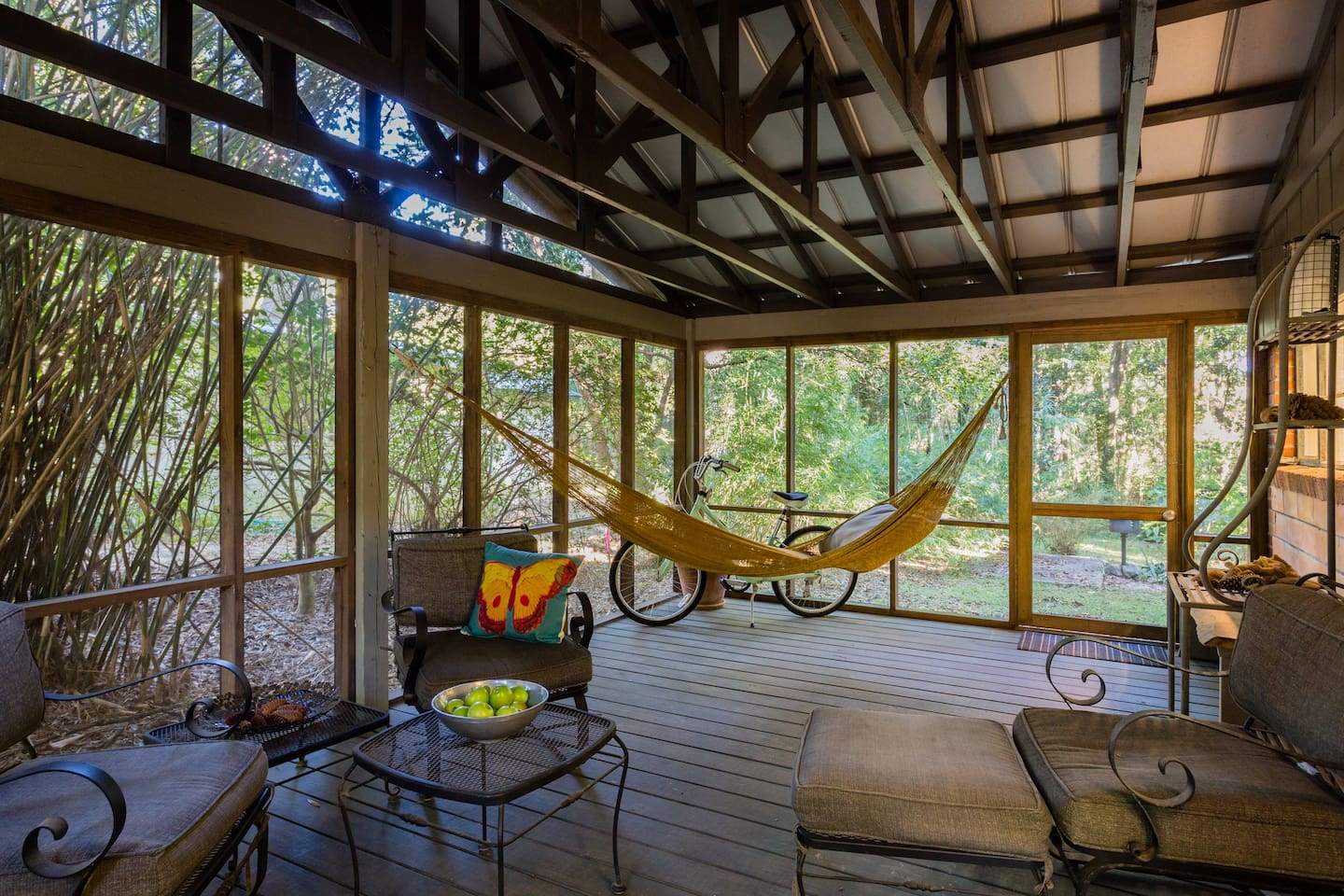 Screened porch and hammock off Living Room