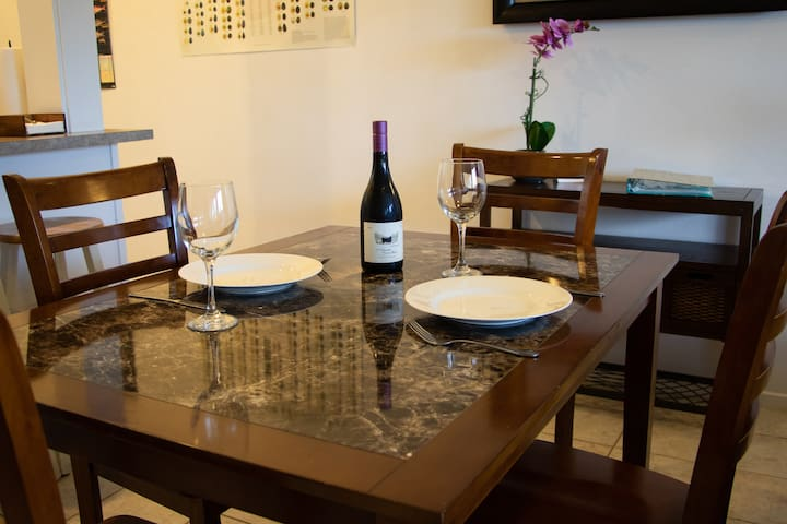 Comfortable dining area is the perfect spot for enjoying home cooked meals.