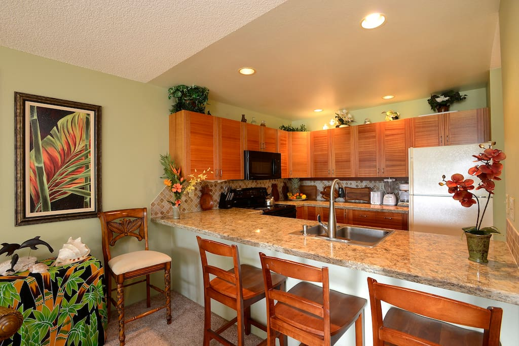 Newly remodeled kitchen has all major appliances plus a blender for your tropical drinks.