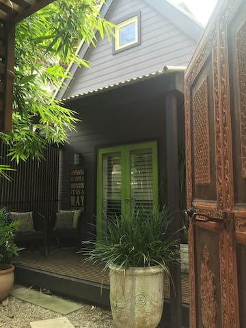Private entrance and secluded porch