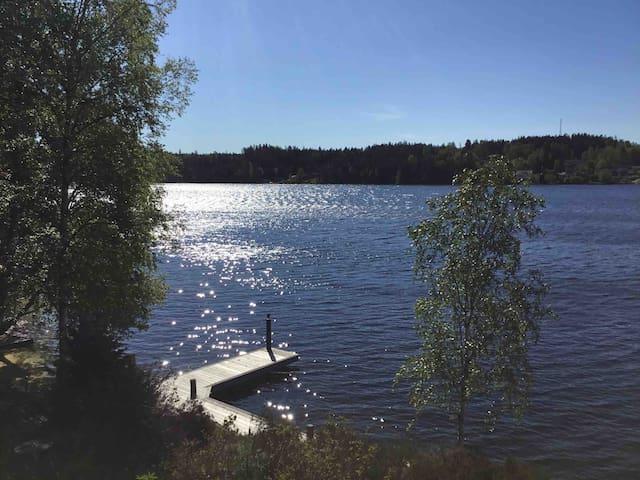 Drömstuga vid sjö m underbar vy