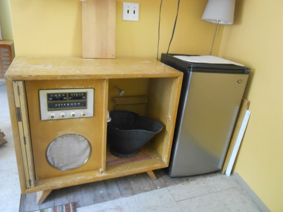 future sink cabinet, past turn table cabinet