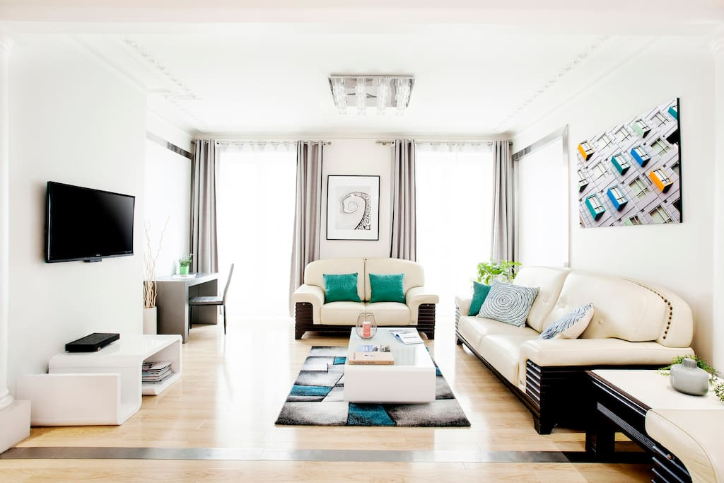 First Living room with leather sofa