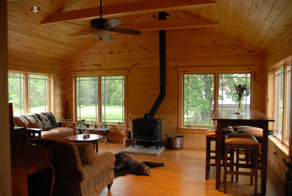 Main room with woodstove