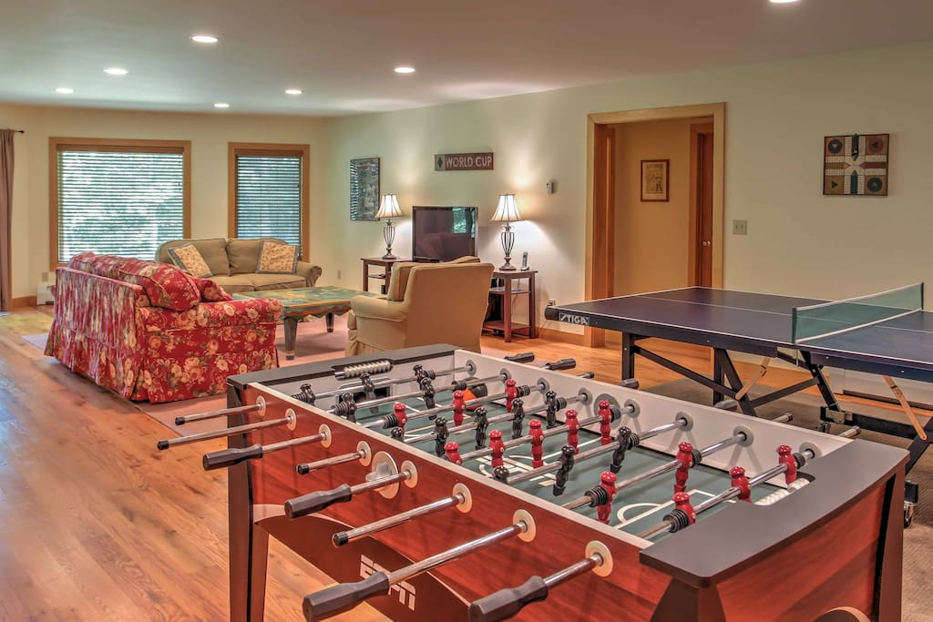 The game room features foosball, ping-pong and a flat-screen TV.
